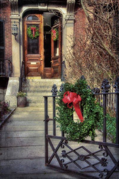 Photograph - Beacon Hill Christmas Doorway by Joann Vitali