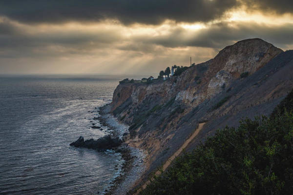 Photograph - Beams Of Light Over Point Vicente Lighthouse by Andy Konieczny