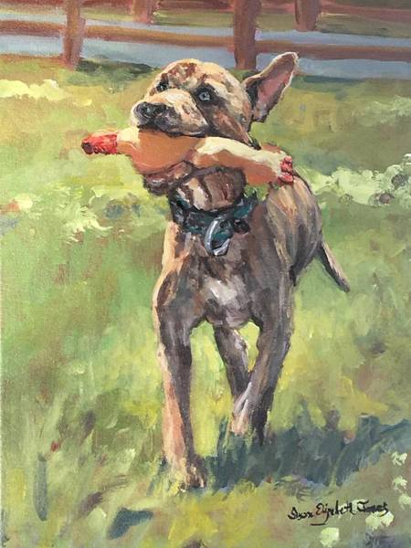 Wall Art - Painting - Beaner And His Beloved Chicken by Susan Elizabeth Jones