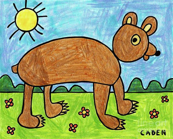 Drawing - Caden's Bear 1 by Amy E Fraser and Caden Fraser Perkins