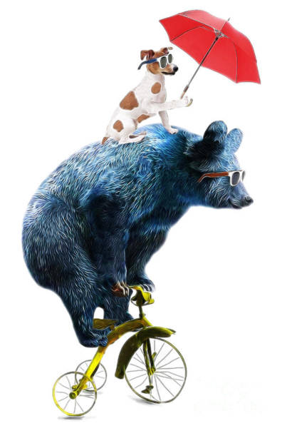Wall Art - Digital Art - Bear And Dog Circus Show Illustration by Studiolondon