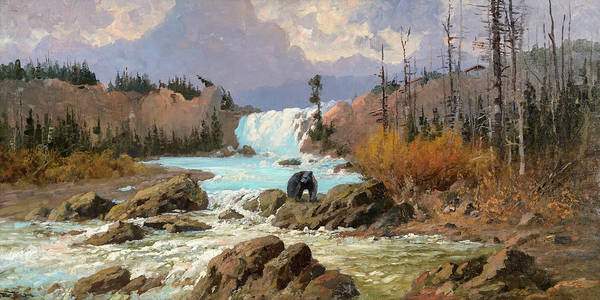Painting - Bear At Swiftcurrent Falls by John Fery