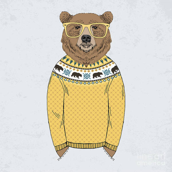 Wall Art - Digital Art - Bear Dressed Up In Jacquard Pullover by Olga angelloz