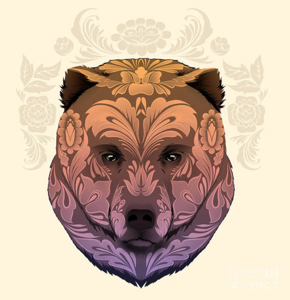 Wall Art - Digital Art - Bear Head With Floral Ornament by Best Works