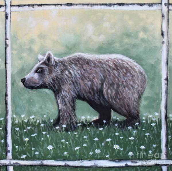 Painting - Bear In The Woods With Wildflowers by Elizabeth Robinette Tyndall