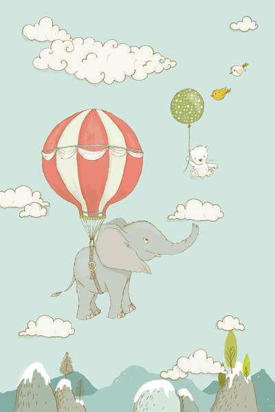 Painting - Floating Elephant And Bear Whimsical Animals by Matthias Hauser