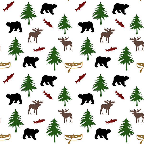 Woodland Animals Mixed Media - Bear Moose Pattern by Christina Rollo