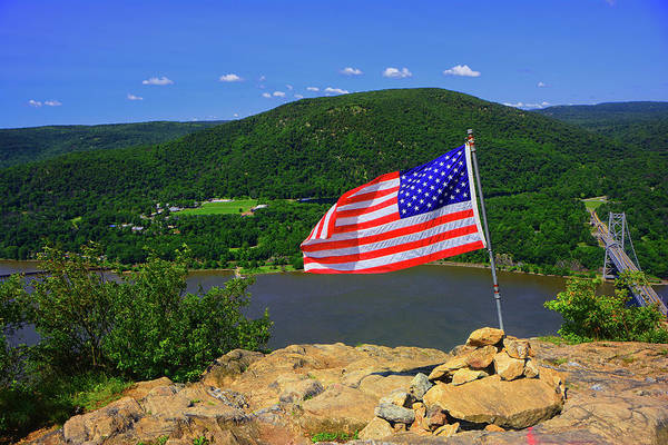 Photograph - Bear Mountain, Bear Mountain Bridge, Appalachian Trail From Anthony's Nose With Usa Flag by Raymond Salani III