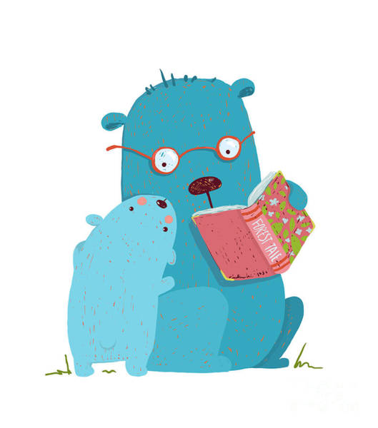 Wall Art - Digital Art - Bear Parent Reading Book To Kid. Animal by Popmarleo