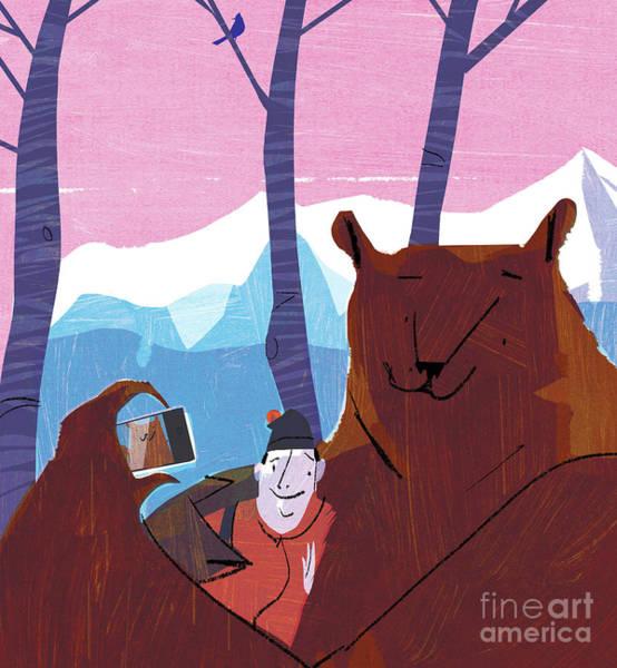 Exploring Mixed Media - Bear Selfie by A Richard Allen