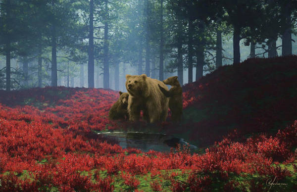 Digital Art - Bear With Cubs by Per Andersson