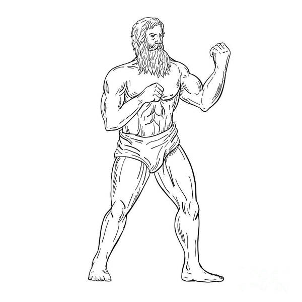 Wall Art - Digital Art -  Bearded Boxer Fighting Stance Drawing Black And White by Aloysius Patrimonio