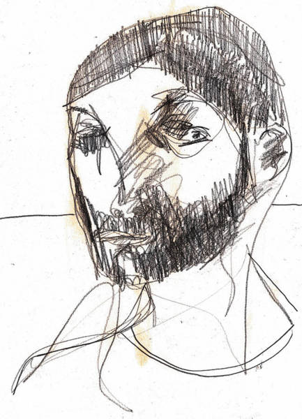 Drawing - Bearded Man by Artist Dot