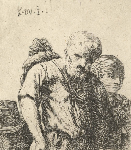 Relief - Bearded Man Shown In Half-length With Bundle Slung Over Right Shoulderblade, Flanked By A Woman Show by Karel Dujardin