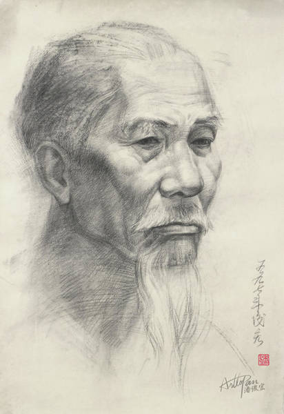 Pan Head Painting - Bearded Old Man's Head Portrait-arttopan Drawing-portrait Realistic Carbon Pencil Sketch by Artto Pan