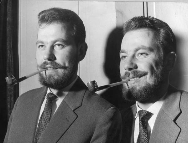 1958 Photograph - Bearded Twins by Keystone