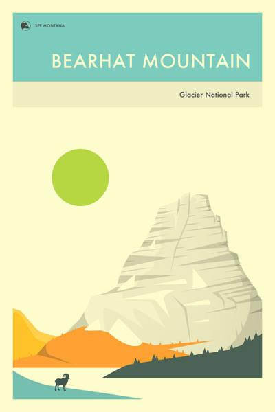 Glacier National Wall Art - Digital Art - Bearhat Mountain 1 by Jazzberry Blue