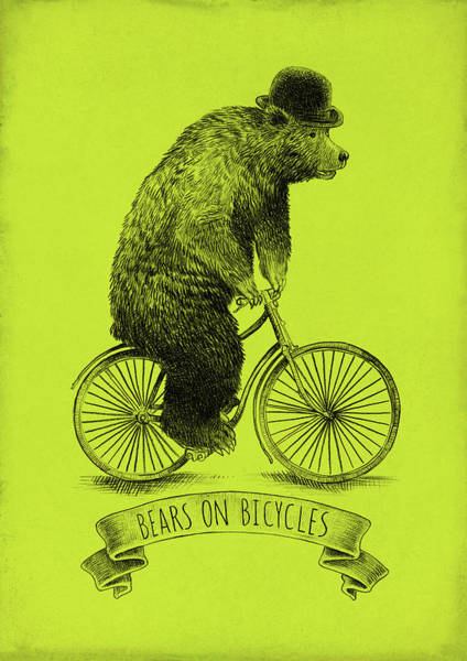 Wall Art - Drawing - Bears On Bicycles - Lime by Eric Fan
