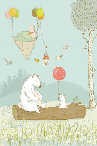 Painting - Bears Relaxing And A Floating Island In The Sky by Matthias Hauser