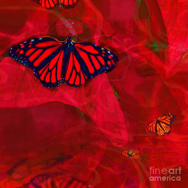 Organic Abstraction Mixed Media - Strong And Fragile In Red by Zsanan Studio