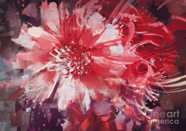 Wall Art - Digital Art - Beautiful Autumn Flowers,old Painting by Tithi Luadthong
