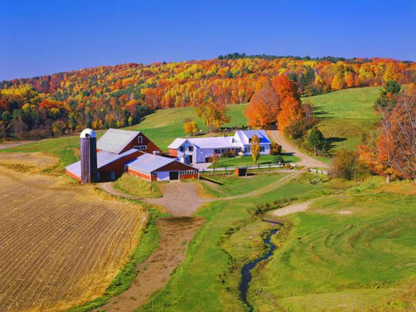 New England Autumn Photograph - Beautiful Autumn View Of A Farmhouse In by Ron thomas