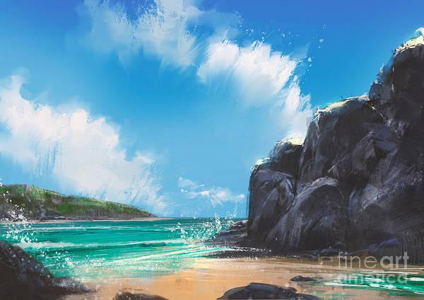 Wall Art - Digital Art - Beautiful Beach Summer Natural by Tithi Luadthong
