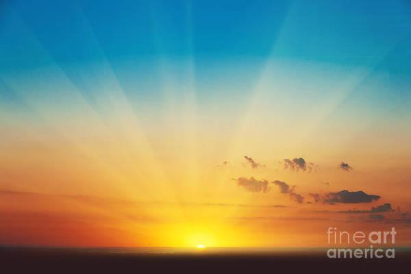 Beautiful Blazing Sunset Landscape At Art Print