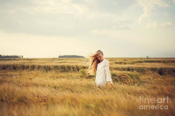 Standing Wall Art - Photograph - Beautiful Blonde Walks Into The Field by Aleshyn andrei