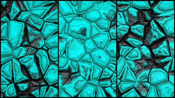Digital Art - Beautiful Blue Wall Abstract Triptych by Don Northup