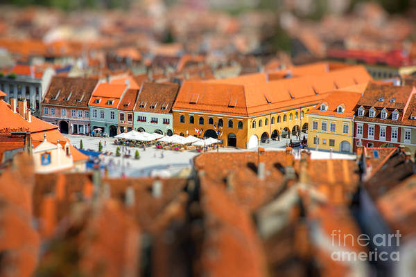 Townscape Wall Art - Photograph - Beautiful Brasov Cityscape Top View In by Rosshelen