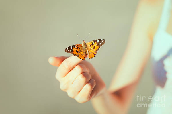 Wall Art - Photograph - Beautiful Butterfly Sitting On The Girl by Viktor Gladkov