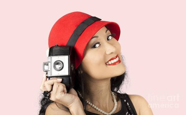Chinese Girl Wall Art - Photograph - Beautiful Chinese Woman Holding Old Film Camera by Jorgo Photography - Wall Art Gallery