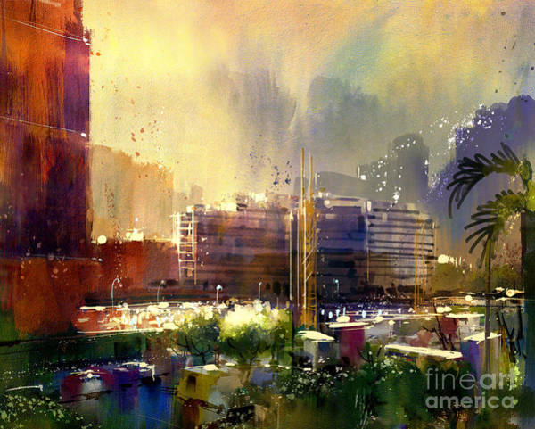 Wall Art - Digital Art - Beautiful City Skyline View,watercolor by Tithi Luadthong