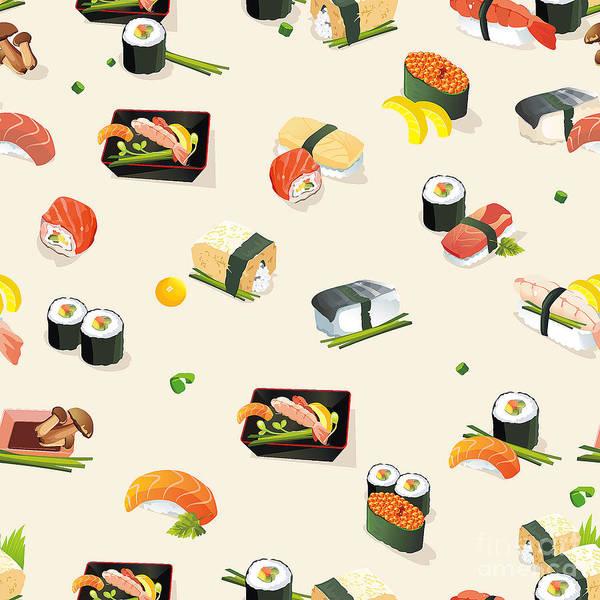 Sushi Wall Art - Digital Art - Beautiful Classic Japanese Seamless by Alexey Vl B