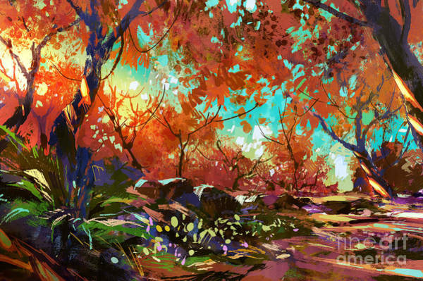 Wall Art - Digital Art - Beautiful Colorful Autumn by Tithi Luadthong