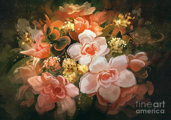 Gold Leaves Digital Art - Beautiful Colors Of Flowers,digital by Tithi Luadthong