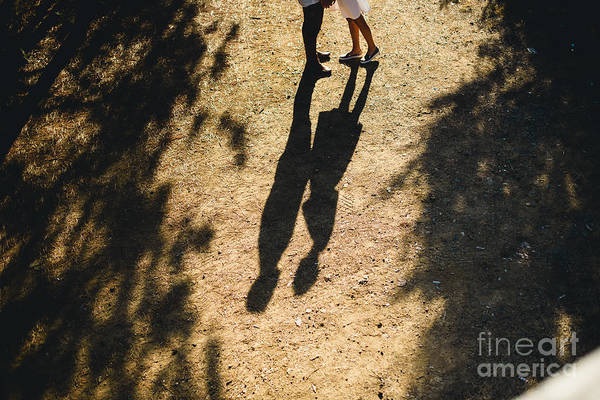 Beautiful Couple Walking In The Forest Art Print