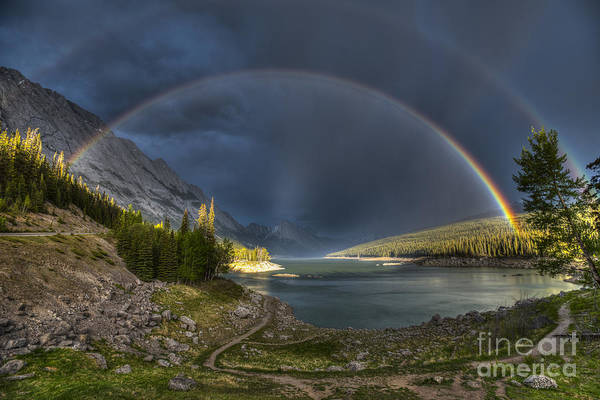 Wall Art - Photograph - Beautiful Double Rainbow Over Scenic by Bgsmith