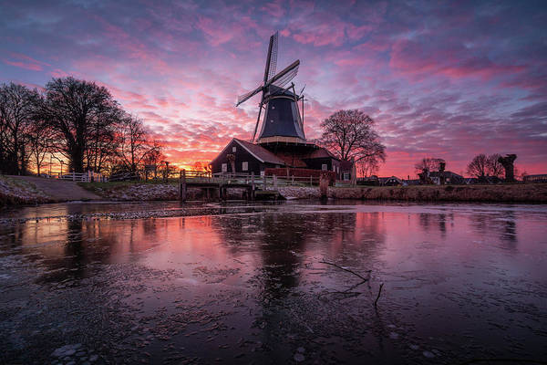Wall Art - Photograph - Beautiful Dutch Windmill In Holland During Sunset by Martin Podt