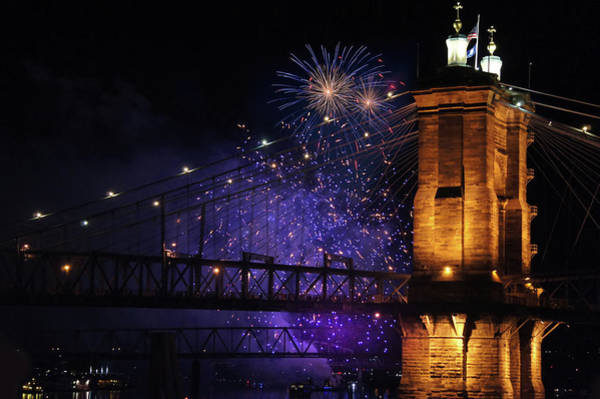 Wall Art - Photograph - Beautiful Fireworks Over The Cincinnati Bridge by Art Spectrum