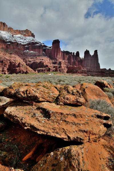 Photograph - Beautiful Fisher Towers And Boulders In Utah by Ray Mathis