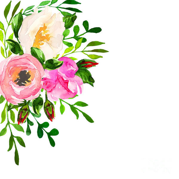 Isolated Wall Art - Digital Art - Beautiful Floral Hand Drawn Watercolor by Vector ann