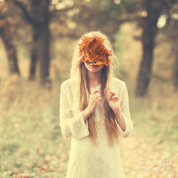 Masquerade Wall Art - Photograph - Beautiful Girl In A Dress In The Autumn by Aleshyn andrei