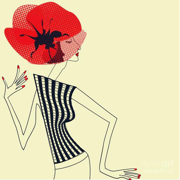 Wall Art - Digital Art - Beautiful Girl With Poppy Flower by Regina Jershova