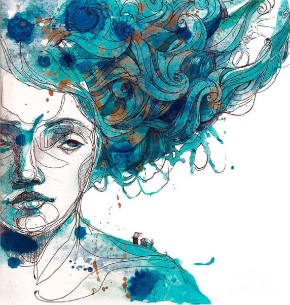 Hair Style Wall Art - Digital Art - Beautiful Girls Face With Long Blue by Yana Fefelova