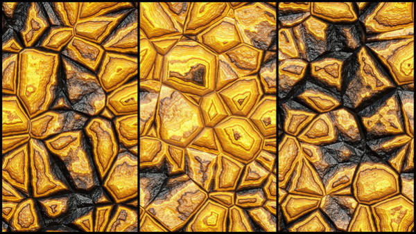 Digital Art - Beautiful Golden Wall Abstract Triptych by Don Northup