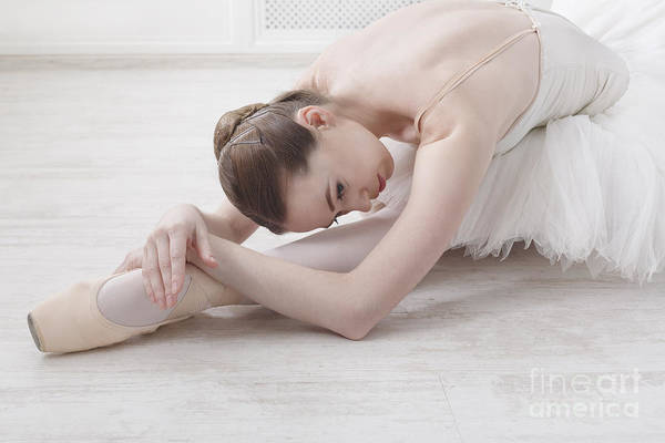 Practice Wall Art - Photograph - Beautiful Graceful Young Ballerina In by Prostock-studio