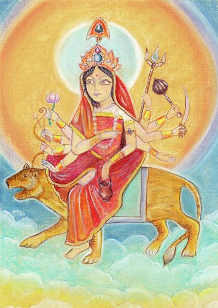 Hindu Goddess Drawing - Beautiful Hindu Goddess Rendering Chandraghanta Devi. Navaratri. Day 3. Pastel Drawing. by Elena Sysoeva