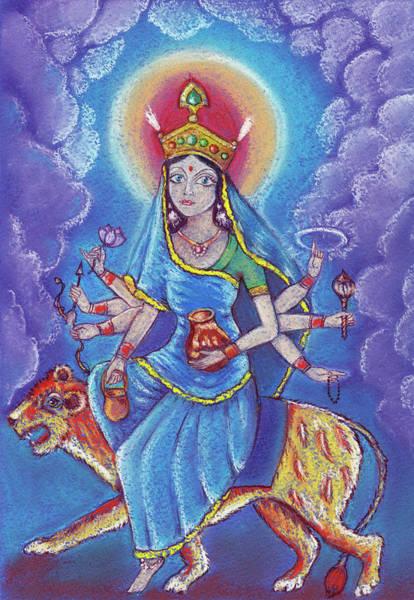 Hindu Goddess Drawing - Beautiful Hindu Goddess Rendering Kushmanda Devi. . Navaratri. Day 4. Pastel Drawing. by Elena Sysoeva